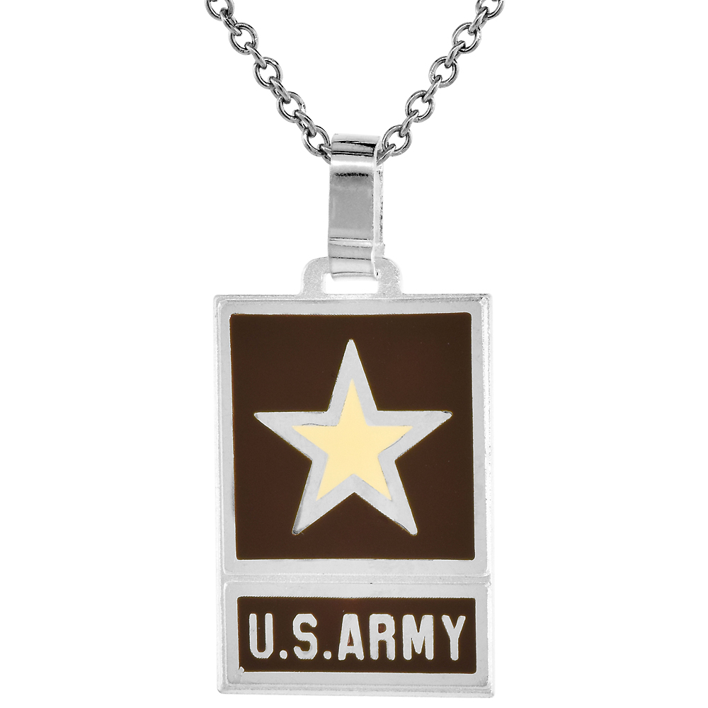 Sterling Silver US ARMY Necklace 1 1/4 inch Italy