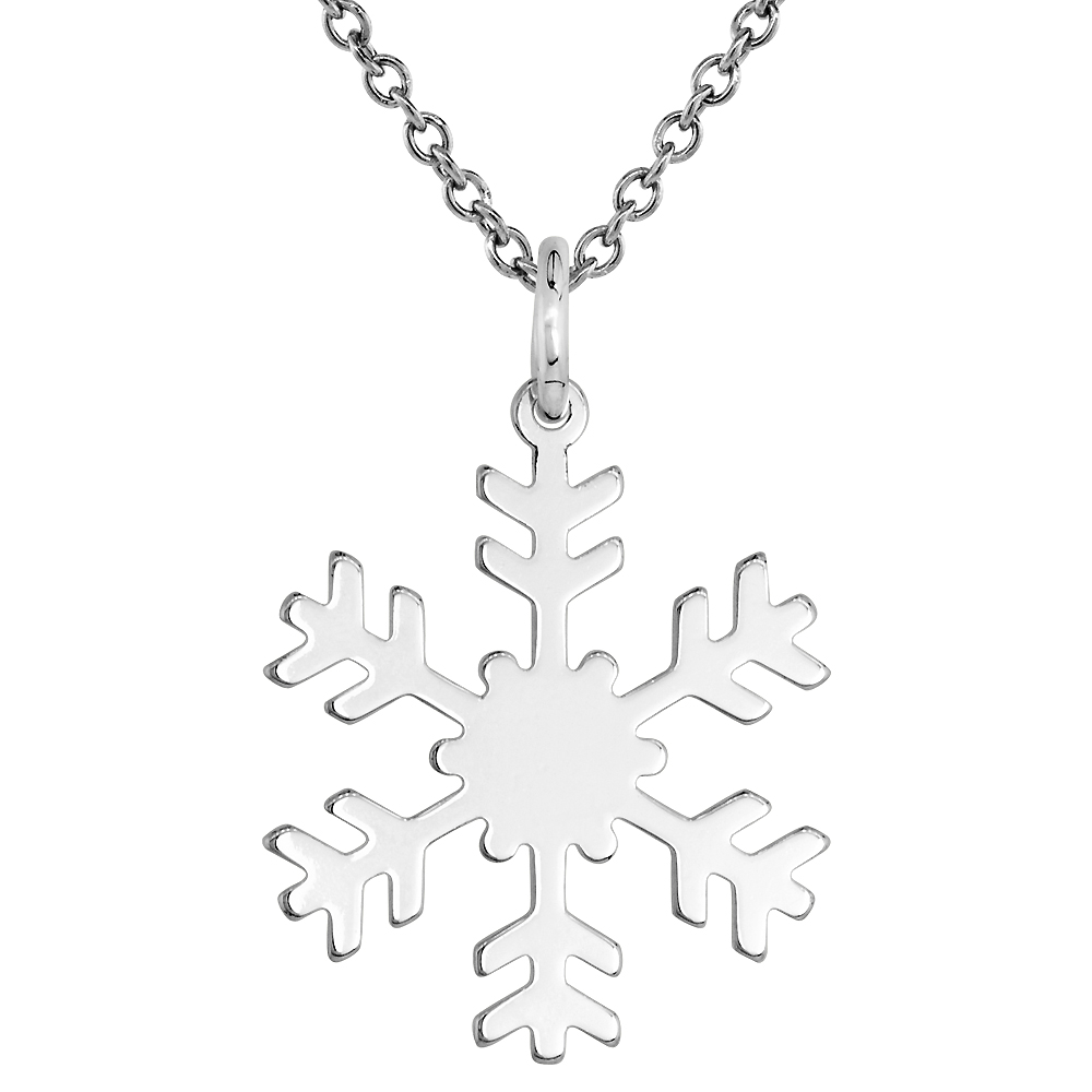Sterling Silver Snowflake Necklace Round with 24 inch Surgical Steel Chain Italy, 7/8 inch,
