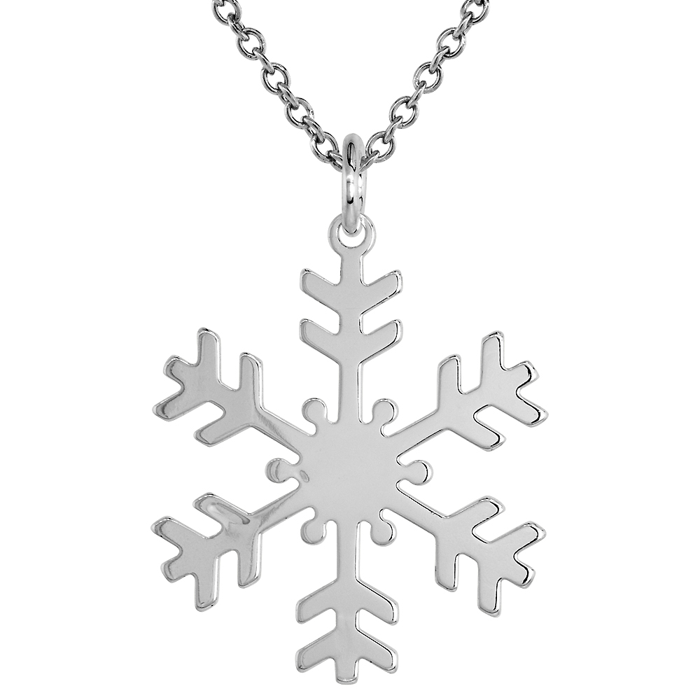 Sterling Silver Snowflake Necklace 1 1/4 inch Italy