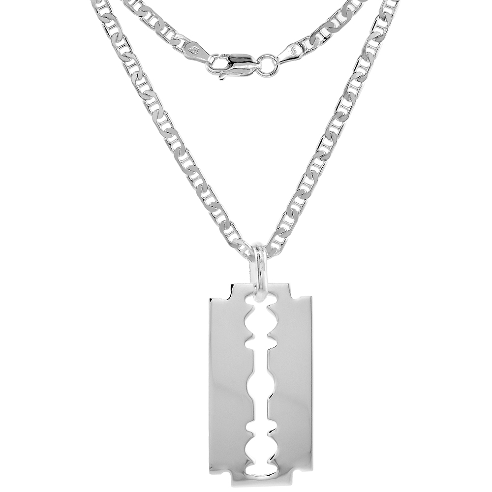 Sterling Silver Razor Blade Necklace Italy, 1 1/2 inch, 0.8mm Chain