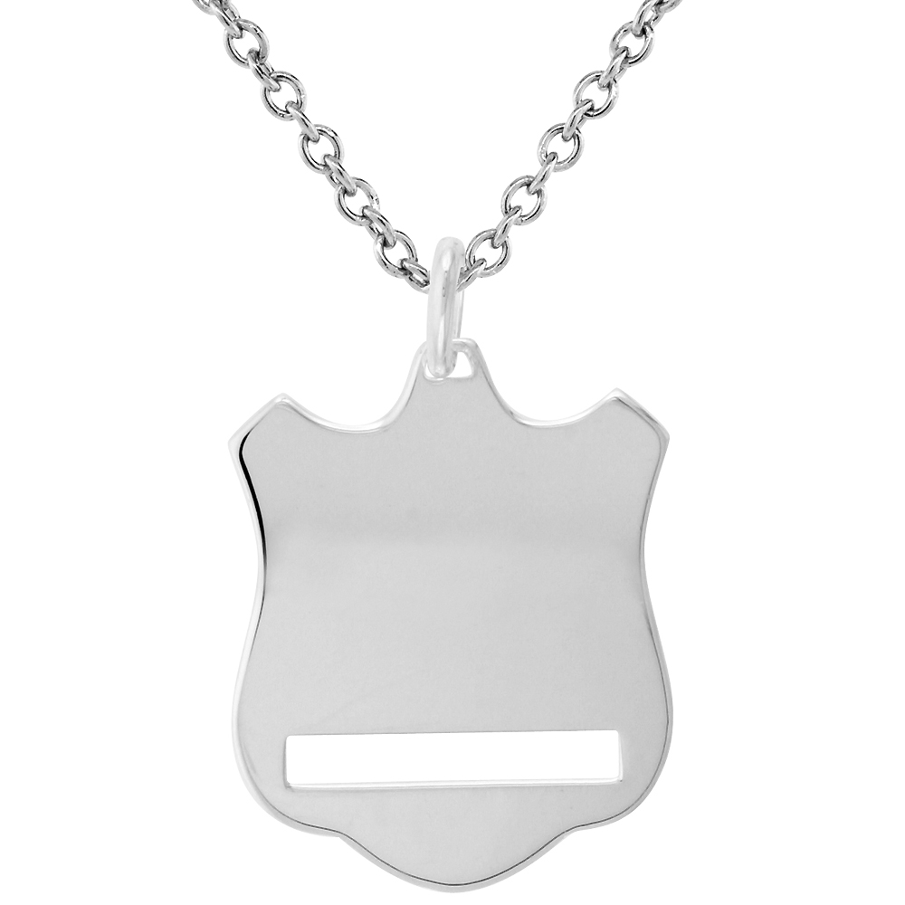 Sterling Silver Shield pendant Necklace for Engraving with 24 inch Surgical Steel Chain Italy, 1 1/16 inch,