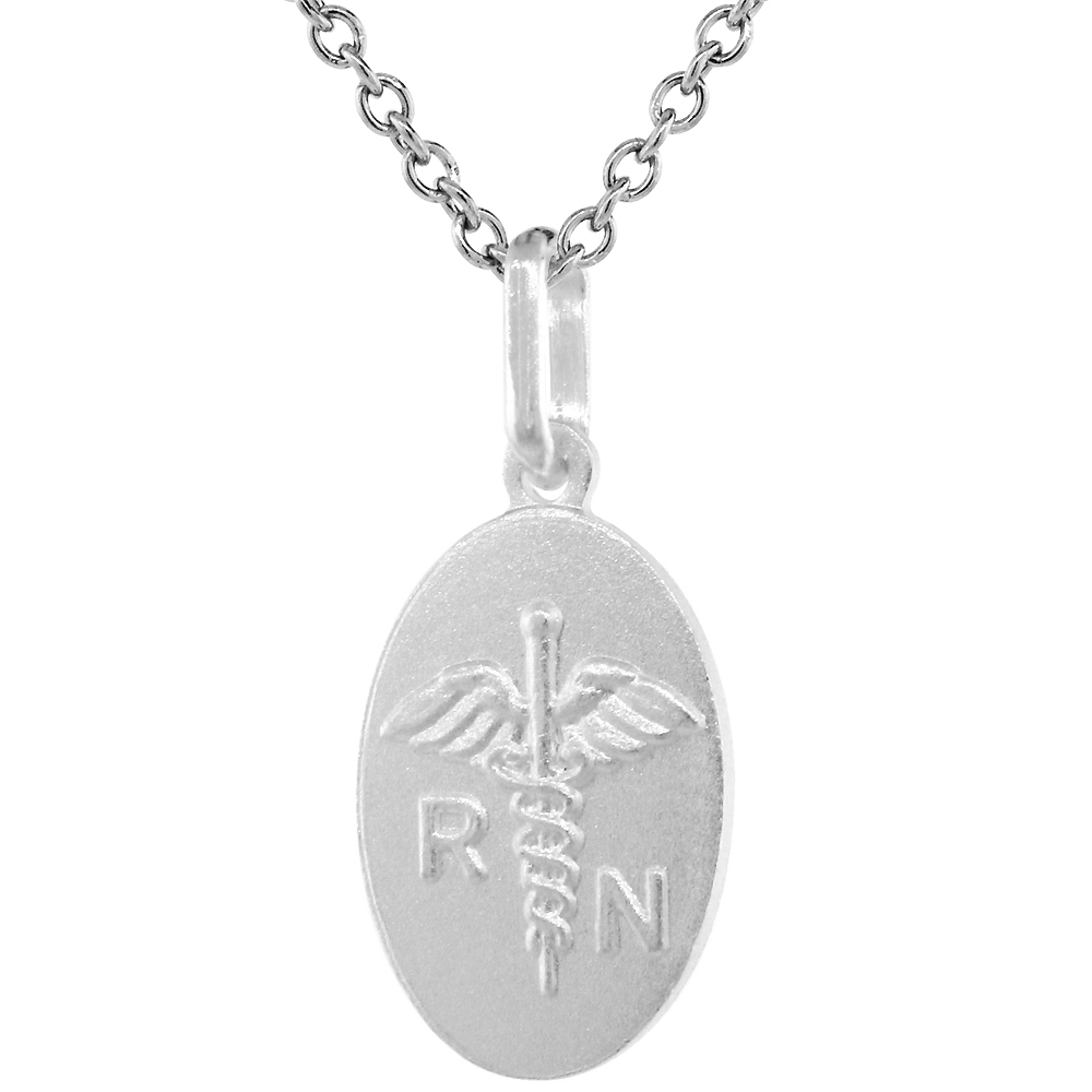 Sterling Silver Nursing Symbol Caduceus Necklace 3/4 inch Italy