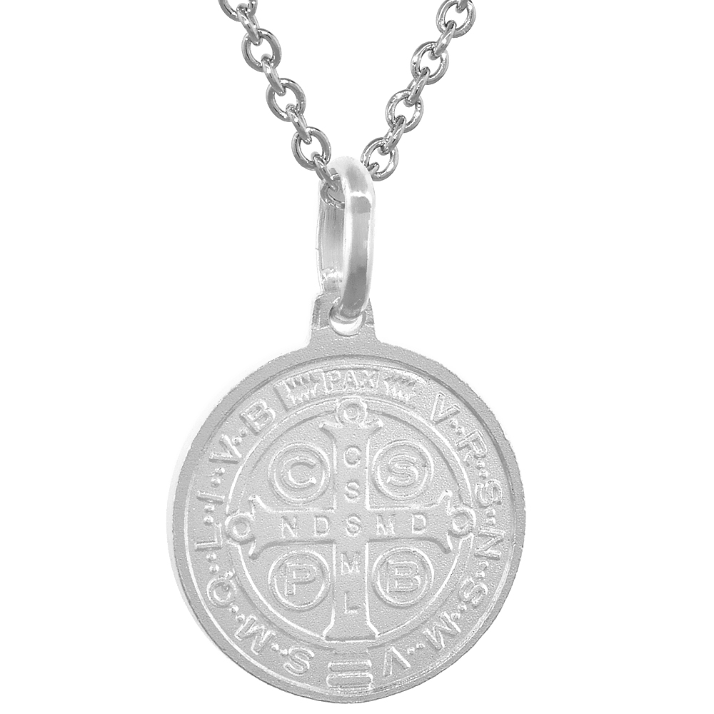 Dainty 14k Gold & Sterling Silver St Benedict Medal Necklace Round 5/8 inch Italy