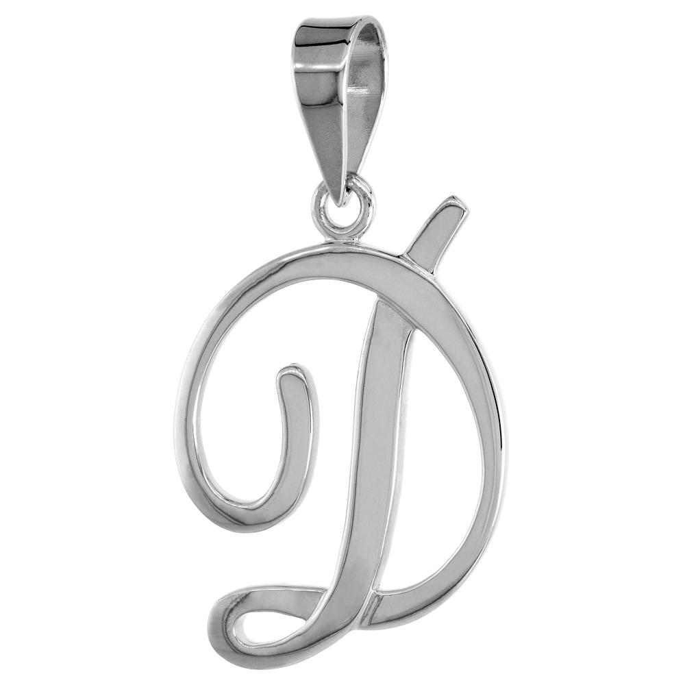 Sterling Silver Script Initial Letter C Alphabet Pendant Flawless Polish