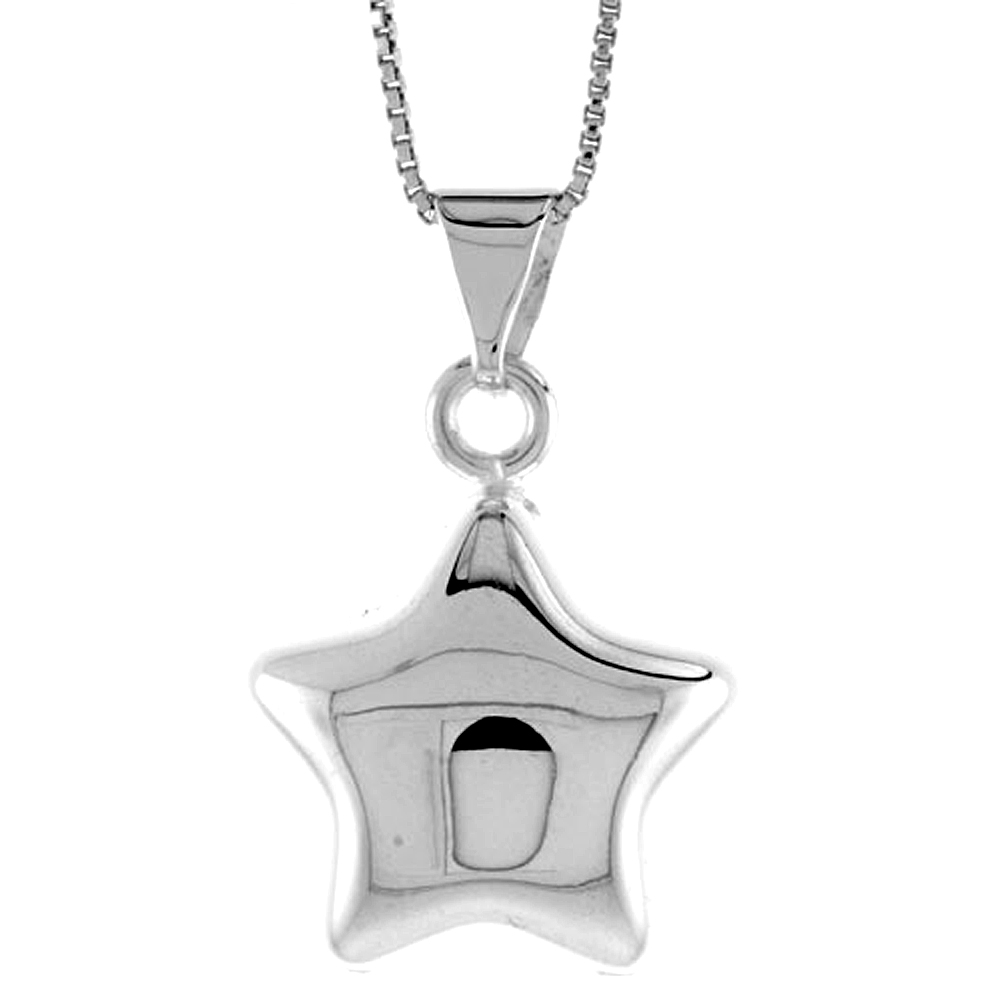 Sterling Silver Star Pendant Hollow Italy 13/16 inch (20 mm) Tall
