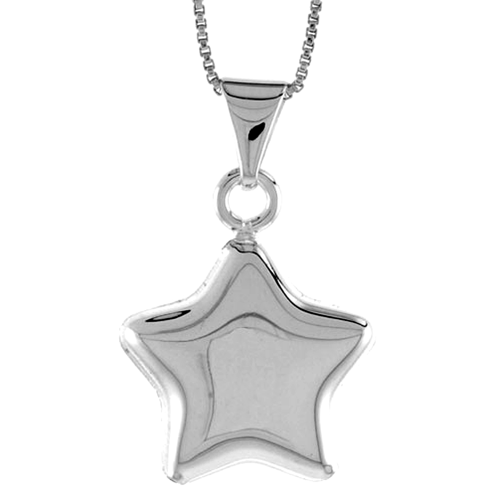 Sterling Silver Small Star Pendant Hollow Italy 13/16 inch (20 mm) Tall