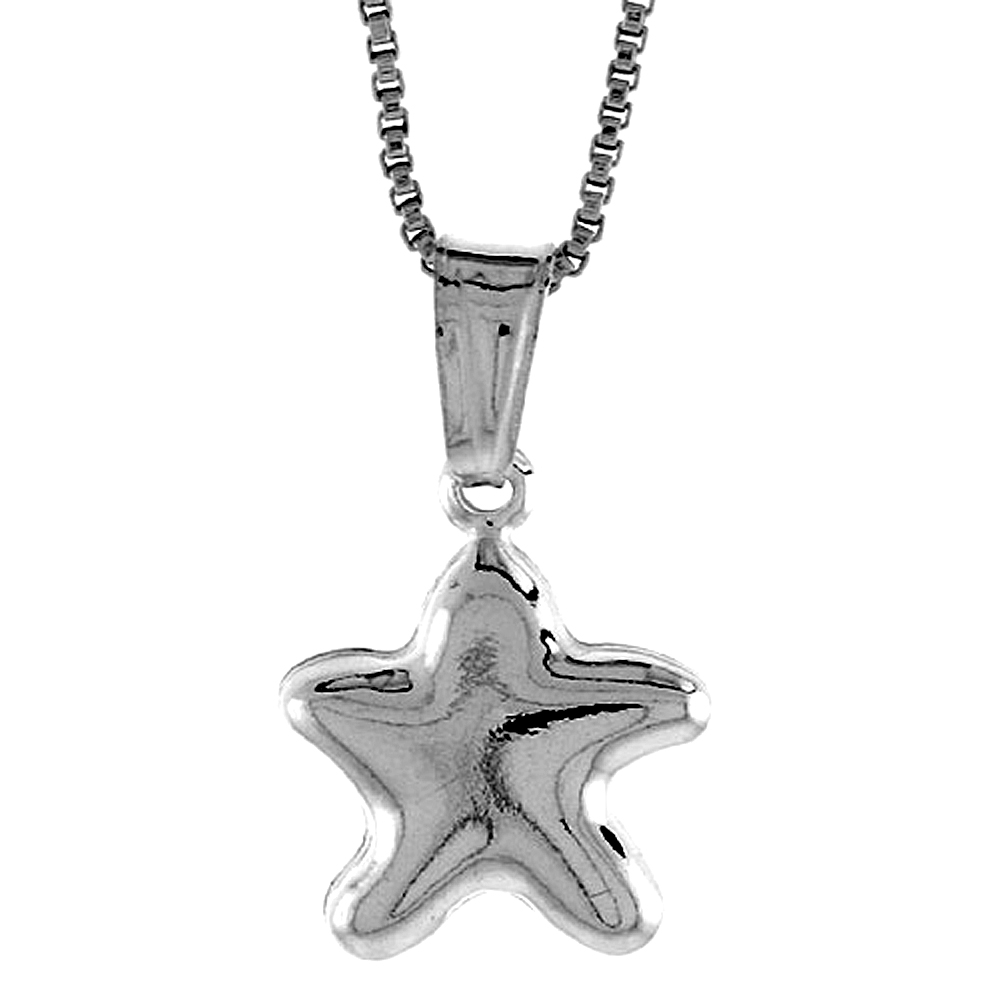 Sterling Silver Small Star Pendant Hollow Italy 1/2 inch (13 mm) Tall