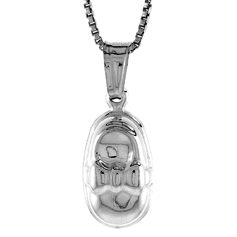 Sterling Silver Small Baby Shoe Pendant Hollow Italy 9/16 inch (14 mm) Tall