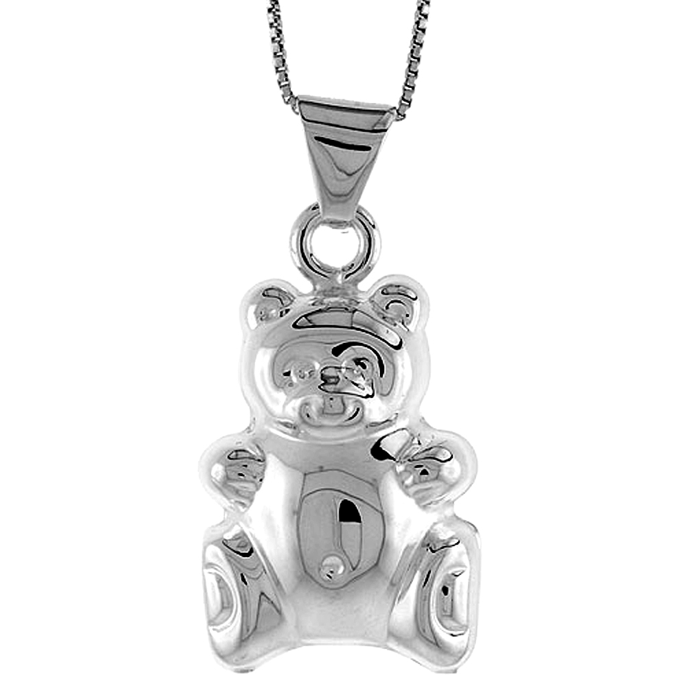 Sterling Silver Large Teddy Bear Pendant Hollow Italy 1 3/16 inch (30 mm) Tall