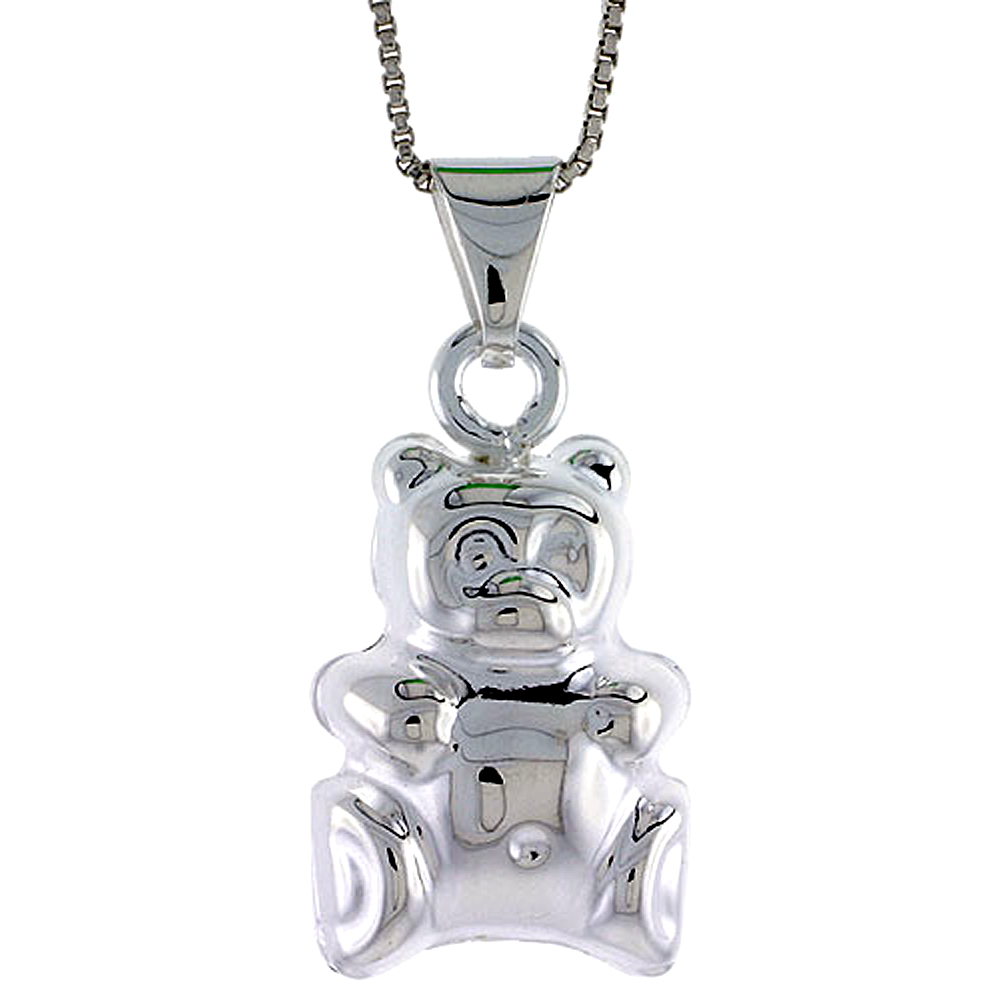 Sterling Silver Large Teddy Bear Pendant Hollow Italy 13/16 inch (21 mm) Tall