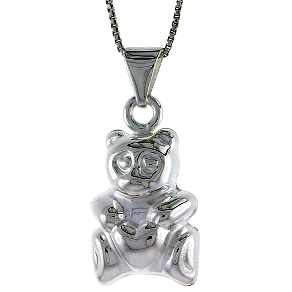 Sterling Silver Large Teddy Bear Pendant Hollow Italy 7/8 inch (23 mm) Tall