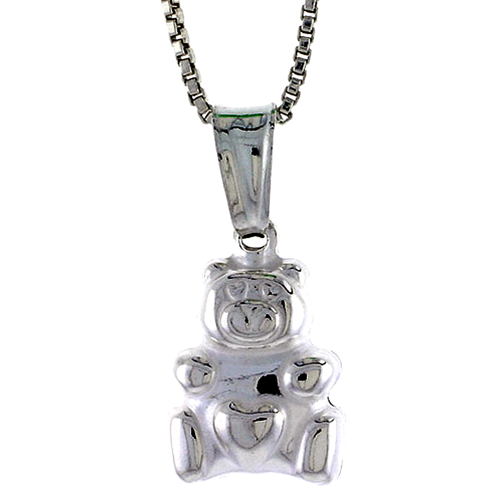 Sterling Silver Small Teddy Bear Pendant Hollow Italy 1/2 inch (13 mm) Tall
