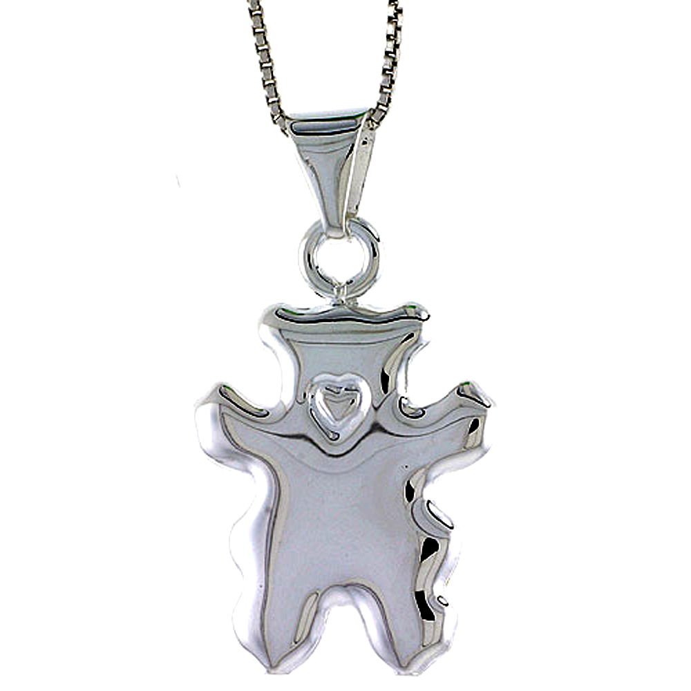 Sterling Silver Large Teddy Bear Pendant Hollow Italy 1 inch (25 mm) Tall