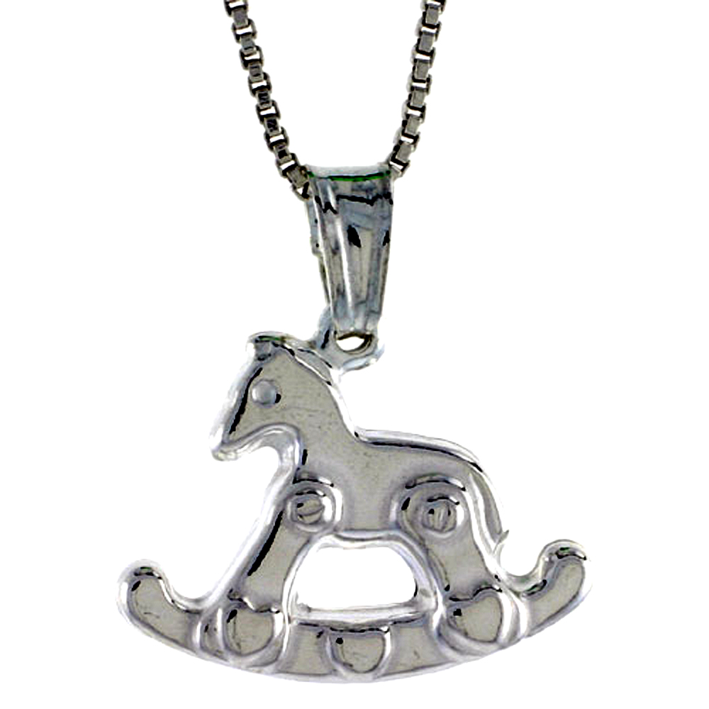 Sterling Silver Rocking Horse Pendant Hollow Italy 9/16 inch (15 mm) Tall