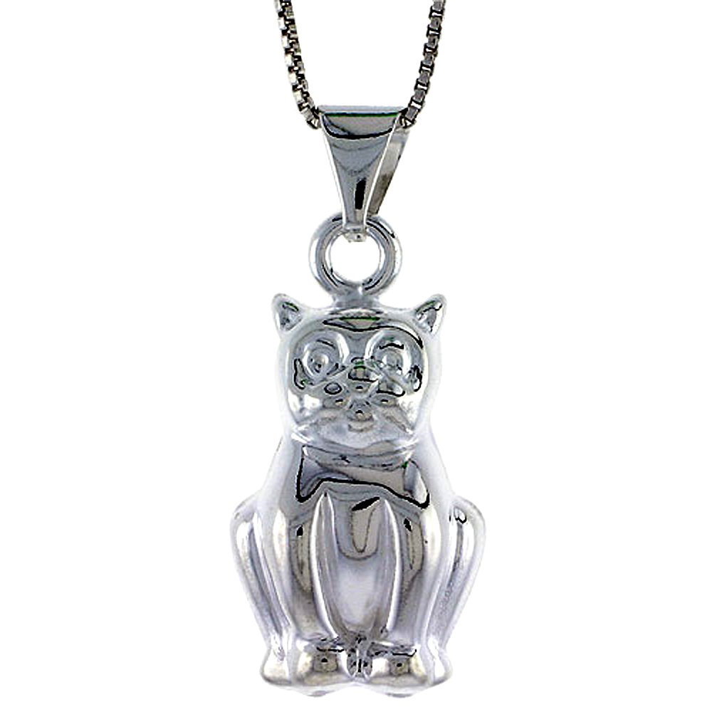 Sterling Silver Large Cat Pendant Hollow Italy 1 inch (25 mm) Tall