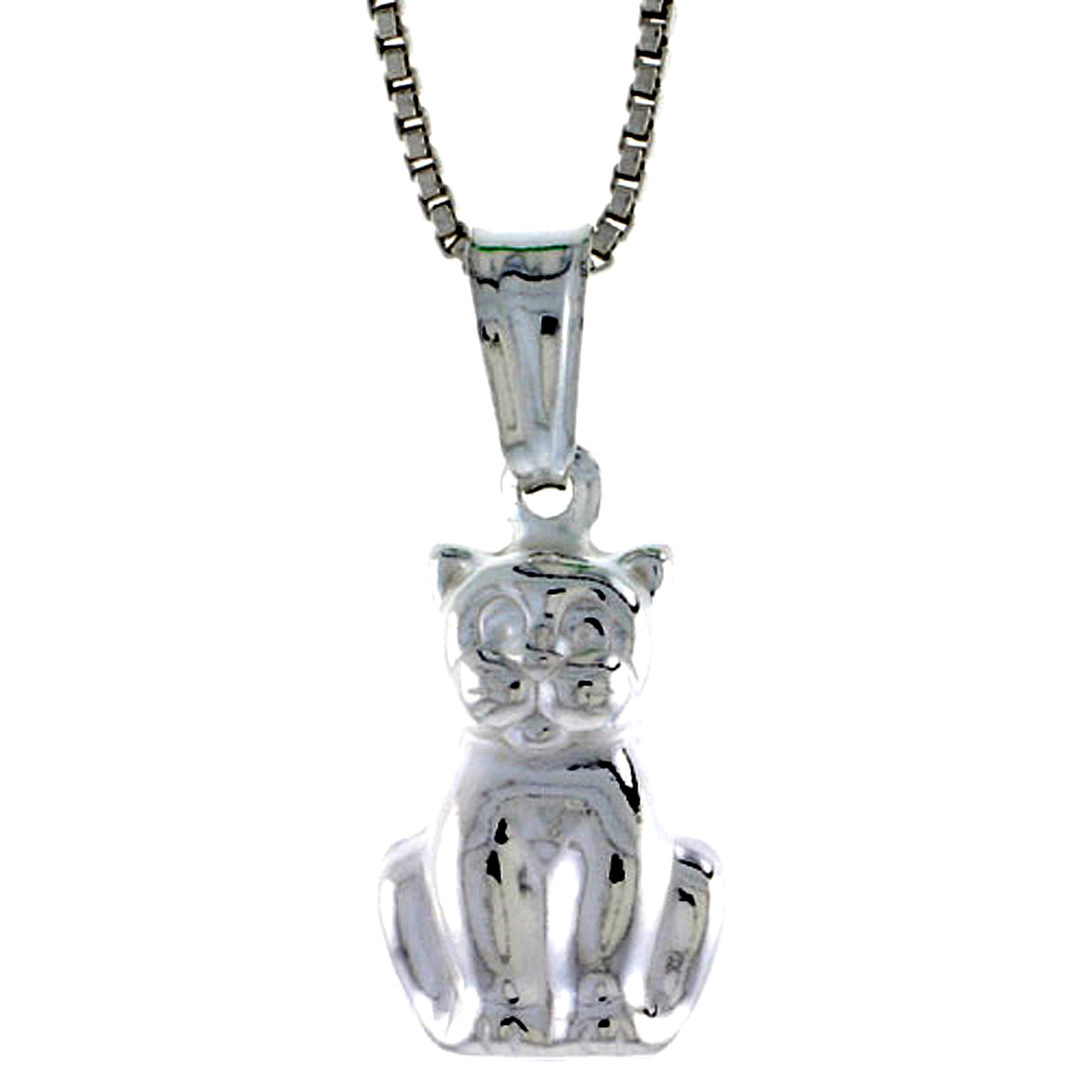 Sterling Silver Small Cat Pendant Hollow Italy 9/16 inch (15 mm) Tall