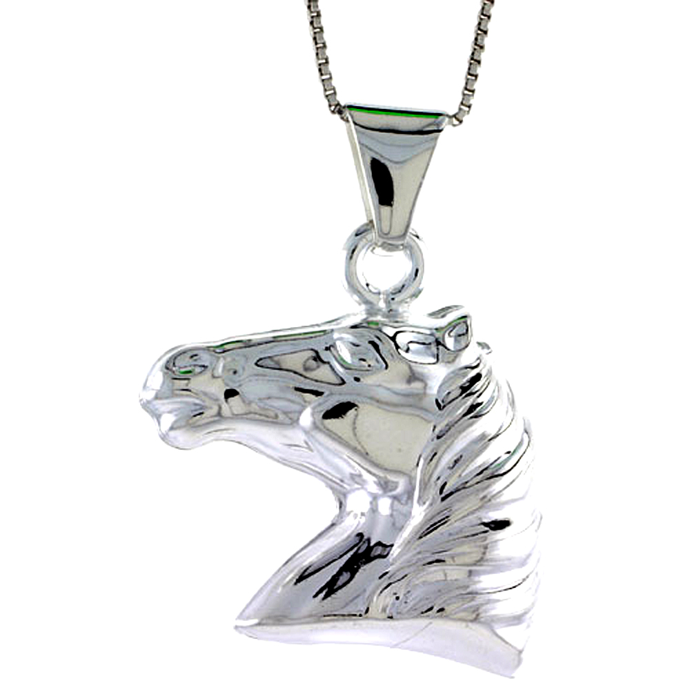 Sterling Silver Large Horse Head Pendant Hollow Italy 1 3/16 inch (30 mm) Tall