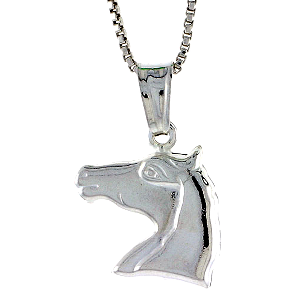 Sterling Silver Horse Head Pendant Hollow Italy 9/16 inch (14 mm) Tall