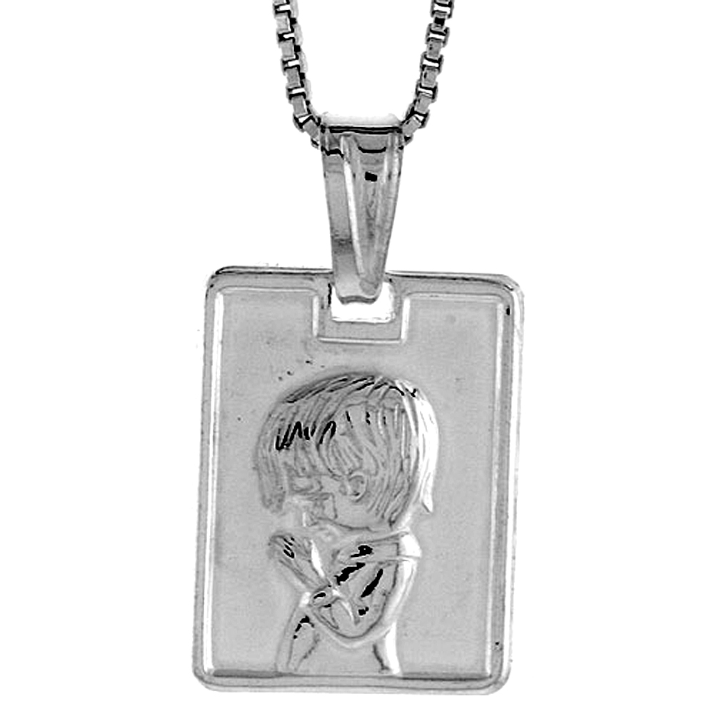 Sterling Silver Boy Pendant Hollow Italy 5/8 inch (17 mm) Tall