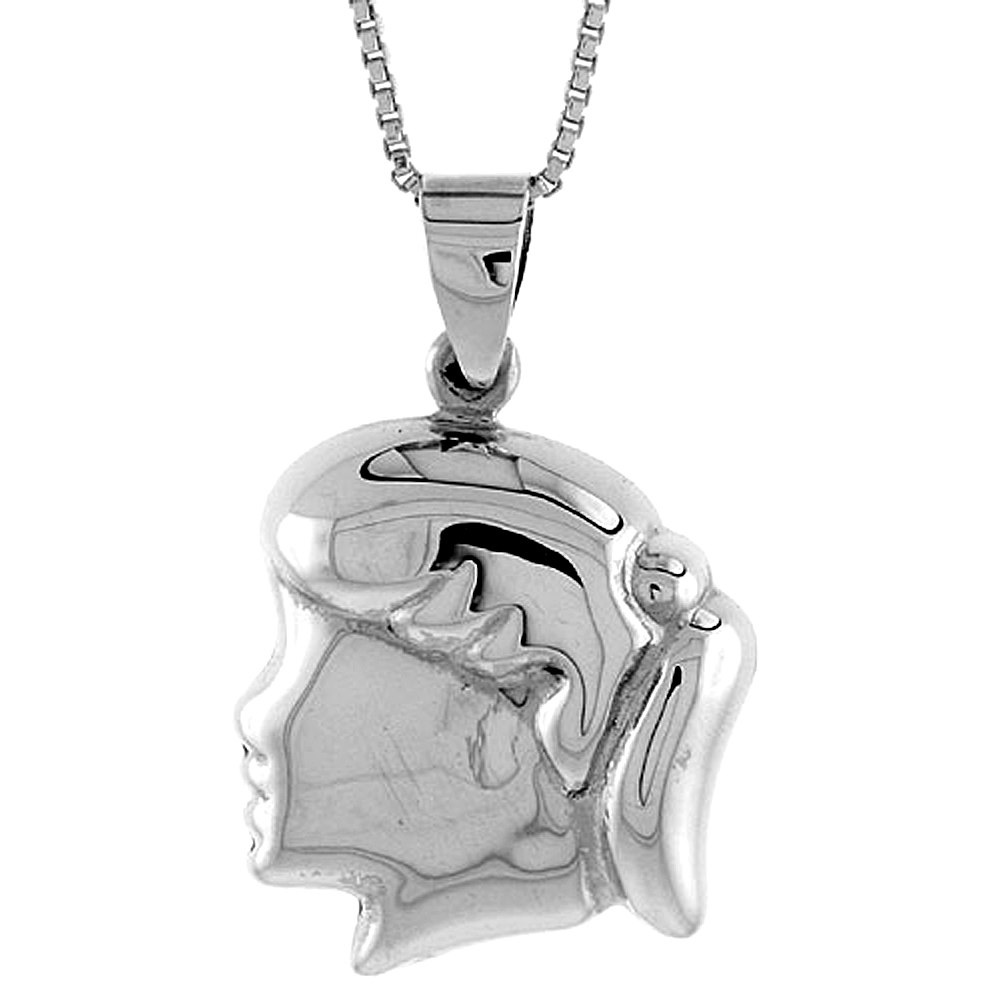 Sterling Silver Puffed Girl's Head Pendant Hollow Italy 13/16 inch (21 mm) Tall