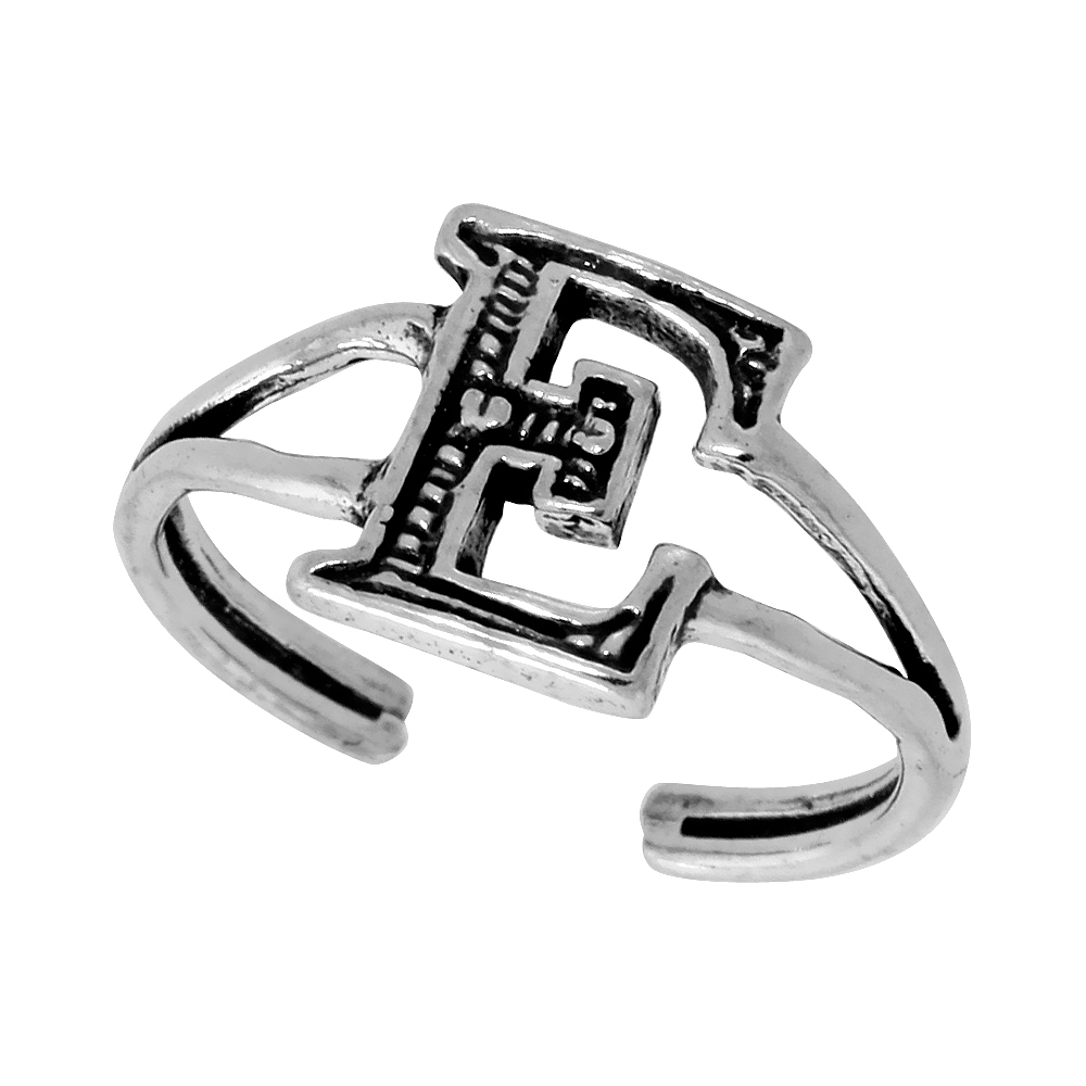 Sterling Silver Initial Letter E Alphabet Toe Ring / Baby Ring, Adjustable sizes 2.5 to 5, 3/8 inch wide