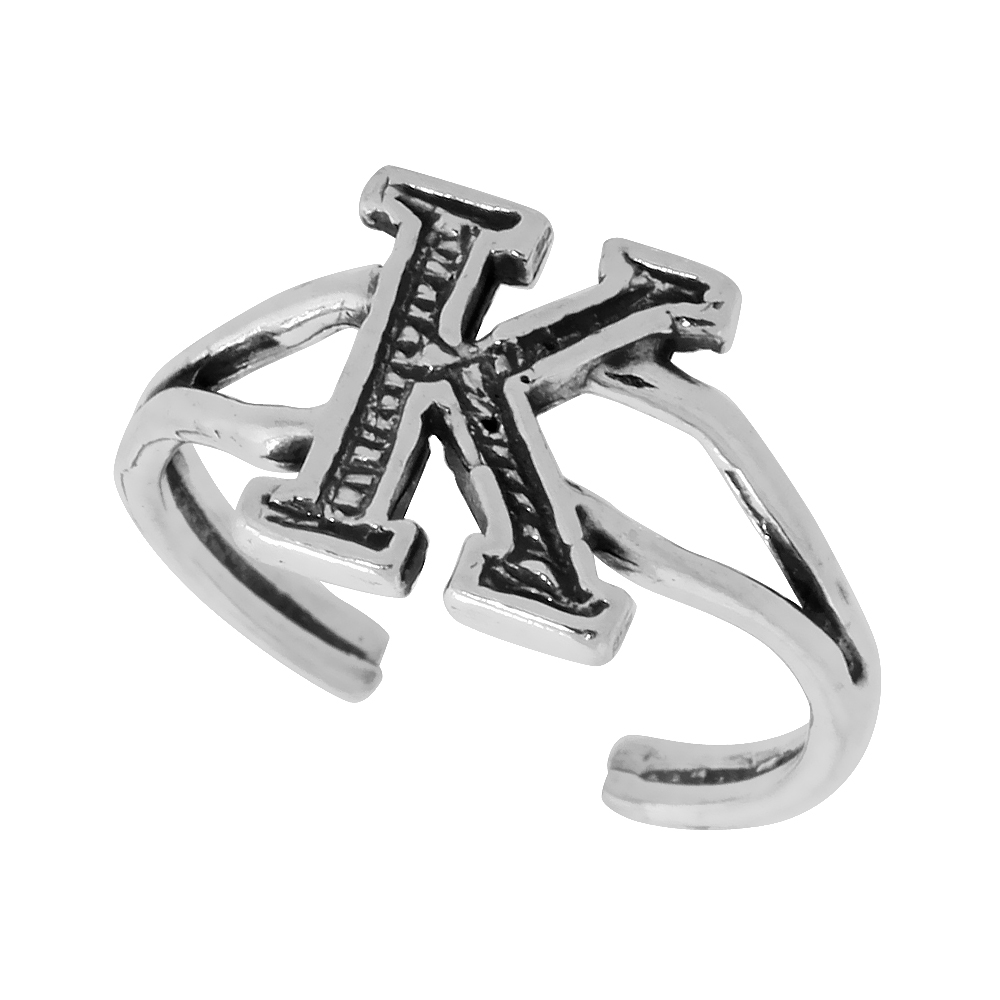 Sterling Silver Initial Letter K Alphabet Toe Ring / Baby Ring, Adjustable sizes 2.5 to 5, 3/8 inch wide