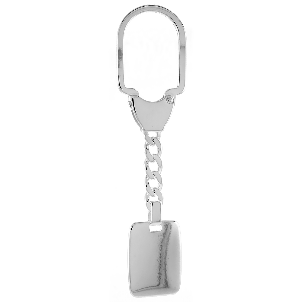 Sterling Silver Keychain with Plain Engraveable Rectangular Tag, 3 1/2 inch