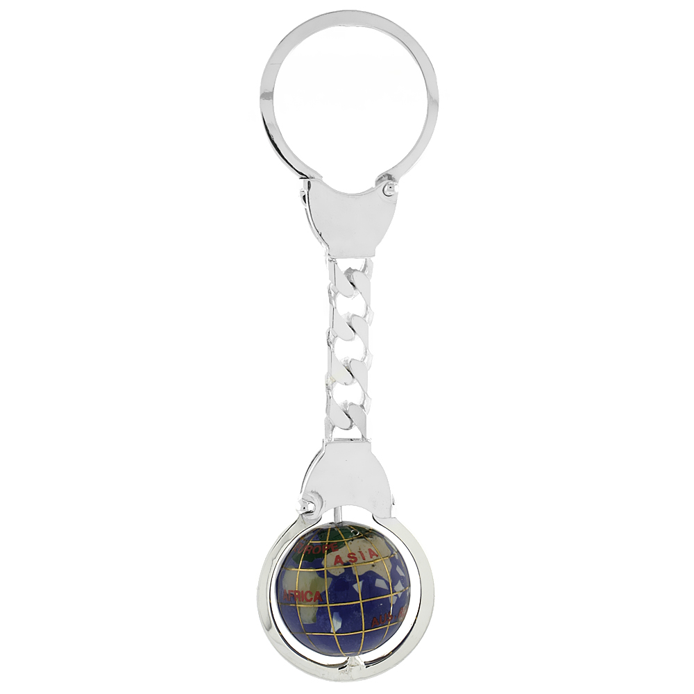 Sterling Silver Keychain Gemstone Globe, 4 inches long