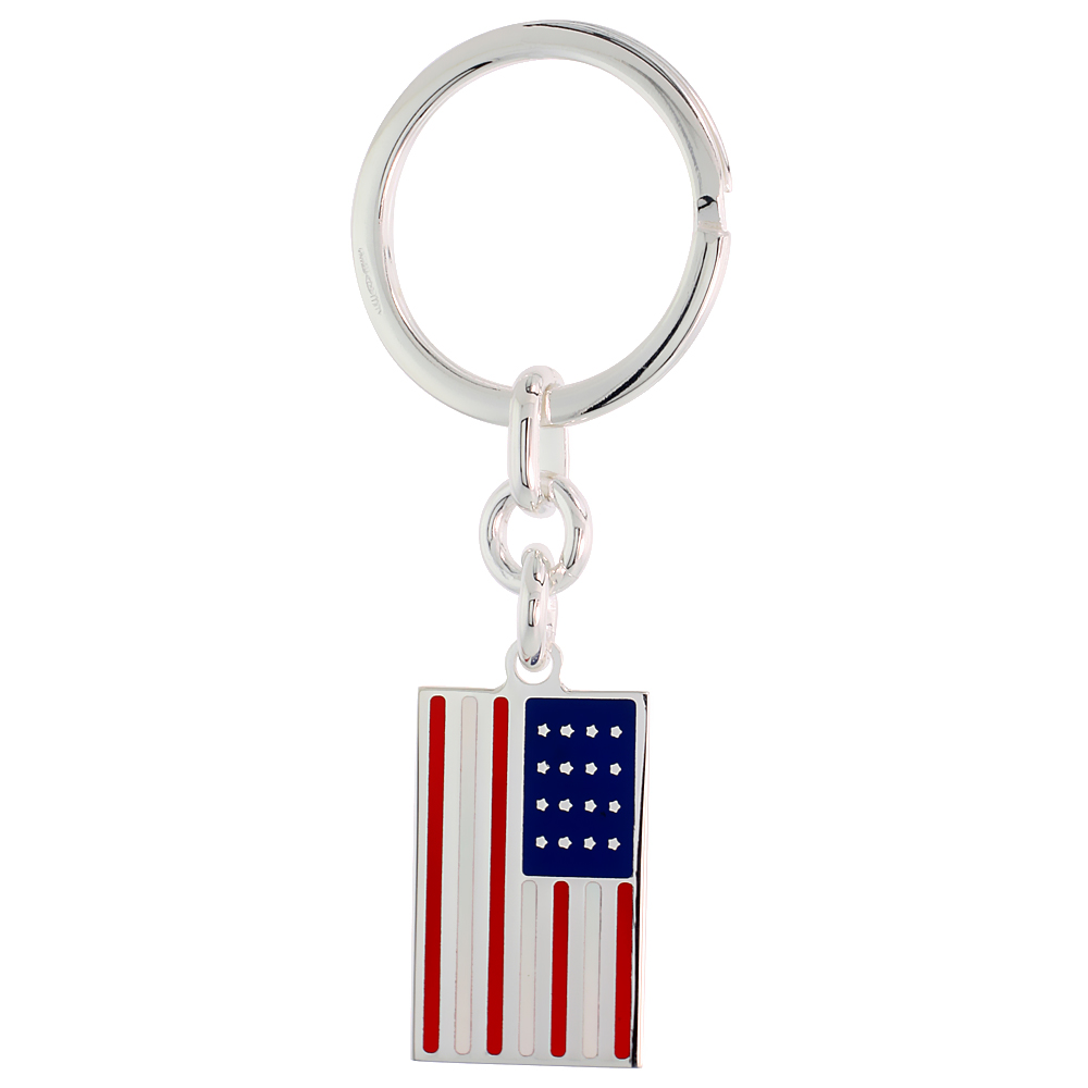 Sterling Silver Keychain with United States Flag, 3 1/2 inches long