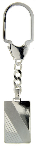 Sterling Silver Key Ring w/ Engrave able Rectangular Tag