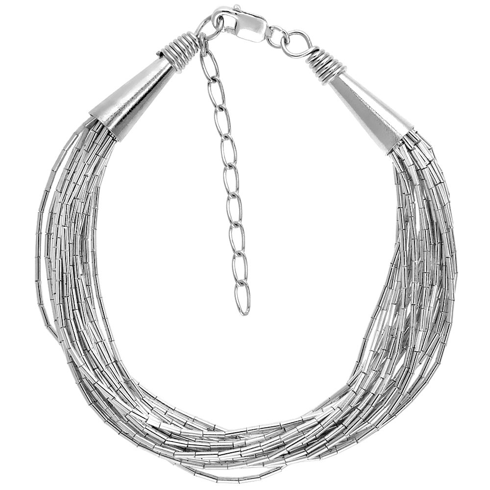 Sterling Silver Liquid Silver Bracelet, 19 strands 7 1/2 inch (19 cm) + 1 1/2 in. extention