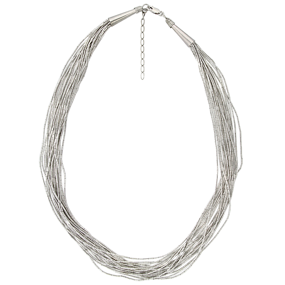 Sterling Silver Liquid Silver Necklace, 20 strands 18 inch (45 cm) long + 2 inch extention, with wire wrapped cone caps