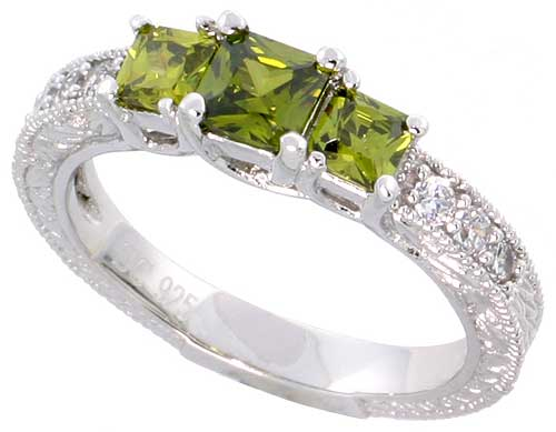 Sterling Silver Square Peridot Cubic Zirconia Engagement Ring 3 Stone Princess 0.65 ct cntr, sizes 6-9