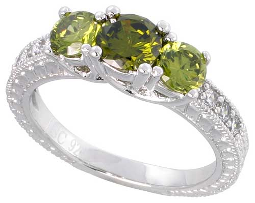 Sterling Silver Peridot Cubic Zirconia Engagement Ring Round 1/2 ct cntr 1/4 ct Sides, sizes 6-9