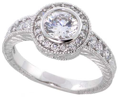 Sterling Silver Vintage Style Cubic Zirconia Halo Engagement Ring Round 1 ct Center, sizes 6-9