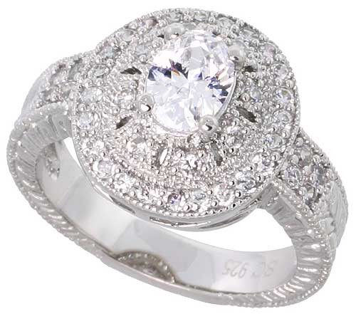 Sterling Silver Vintage Style Cubic Zirconia Engagement Ring Oval � ct Center 9/16 inch wide, sizes 6-9