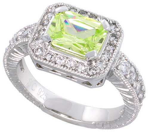 Sterling Silver Vintage Style Peridot Cubic Zirconia Engagement Ring Emerald Cut 1 � ct cntr, sizes 6-9