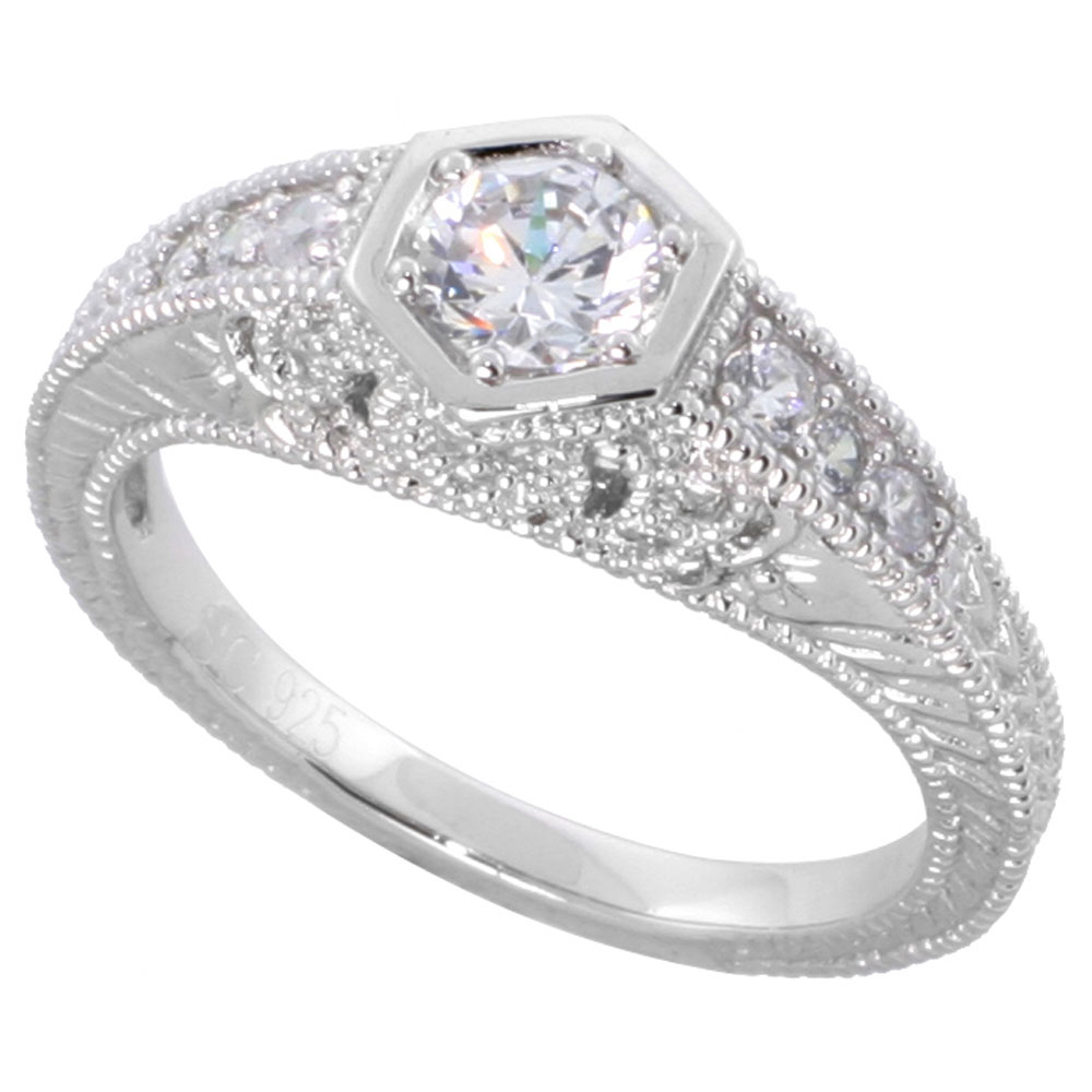 Sterling Silver Vintage Style Cubic Zirconia Engagement Ring Round � ct Center, sizes 6-9