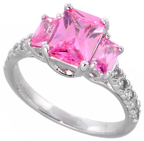Sterling Silver Pink Cubic Zirconia Engagement Ring Emerald Cut 1/12 ct center � ct Sides, sizes 6-9