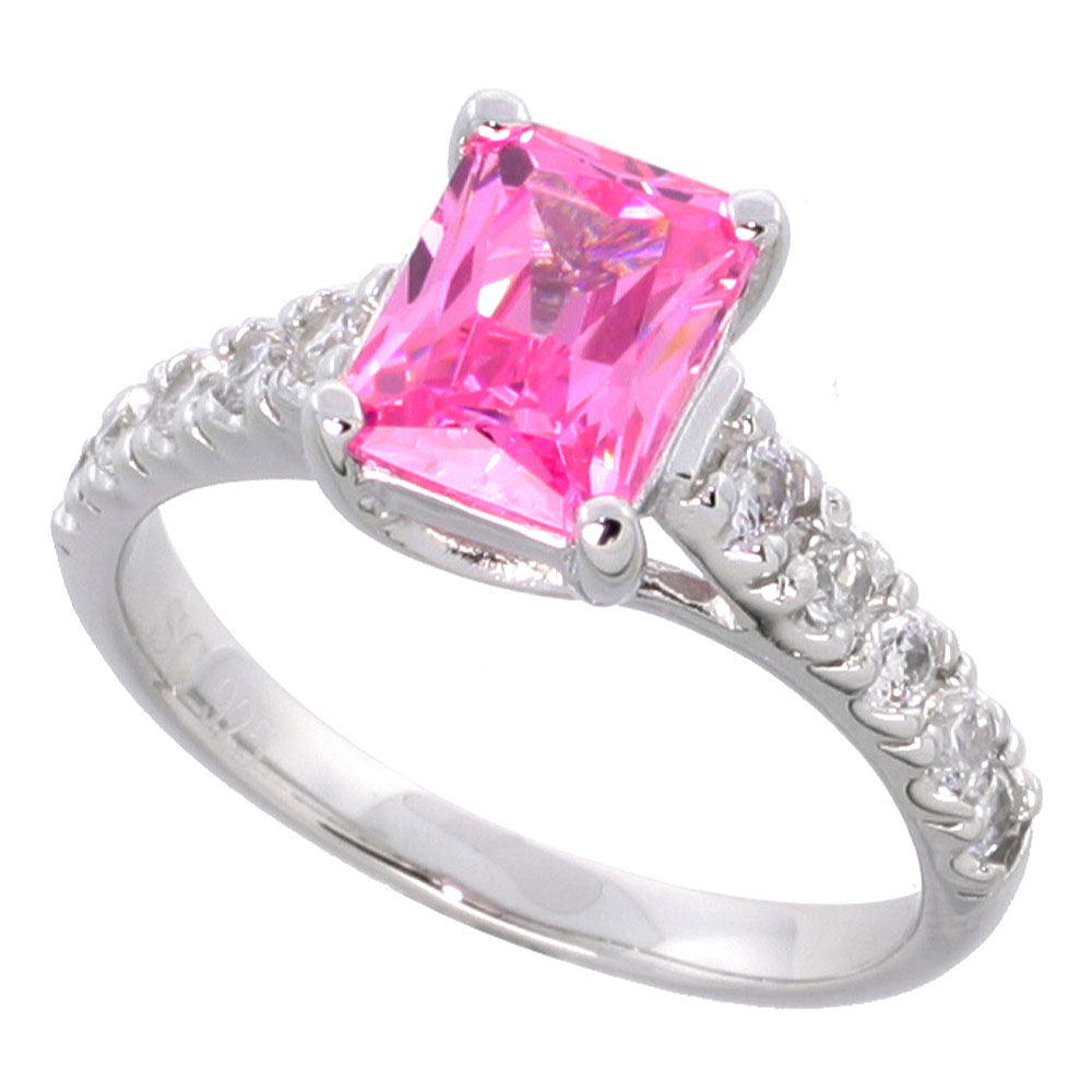 Sterling Silver Vintage Style Pink Cubic Zirconia Engagement Ring Emerald Cut 1 � ct center, sizes 6-9