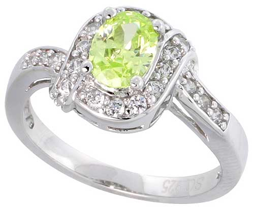 Sterling Silver Vintage Style Peridot Cubic Zirconia Halo Engagement Ring Oval ï ½ Ct Center