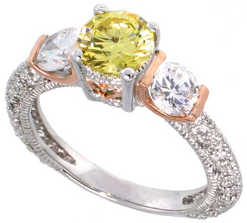 Sterling Silver Citrine Cubic Zirconia 3-stone Engagement Ring � ct cntr � ct Sides, sizes 6-9