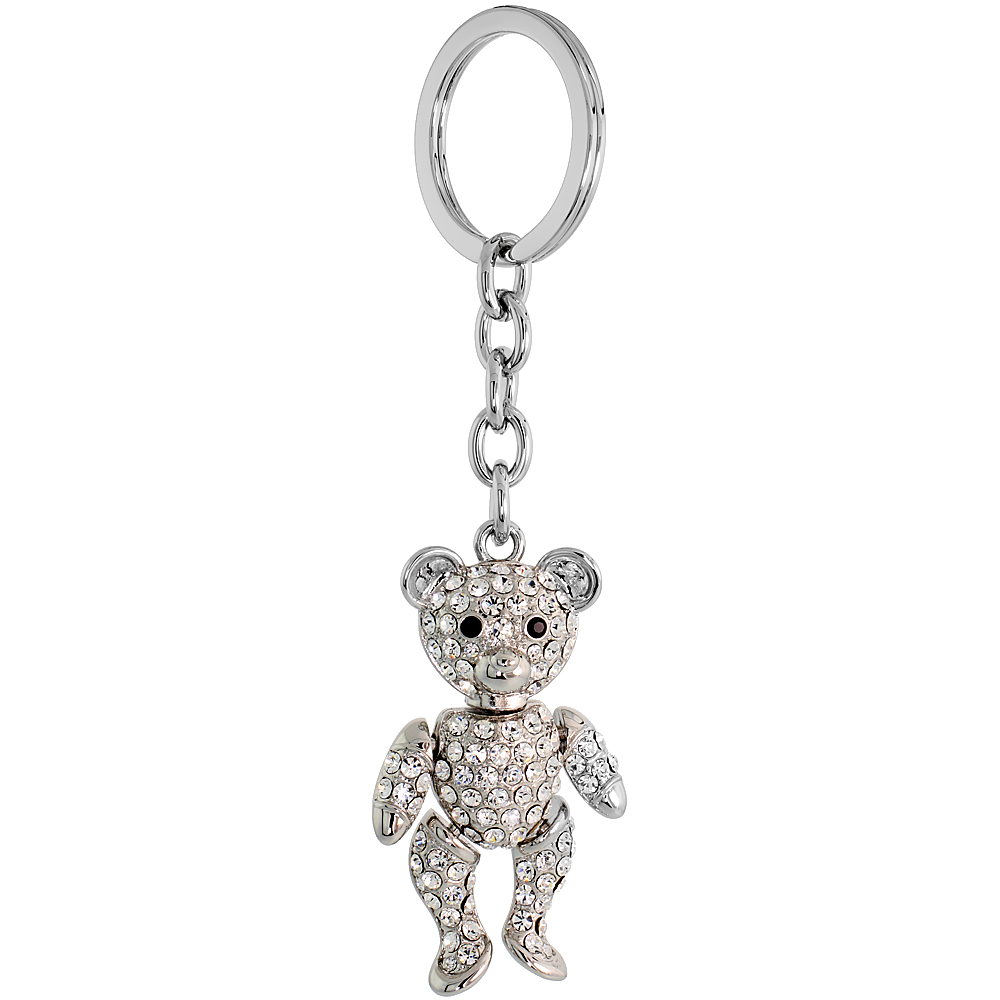 Movable Teddy Bear Key Chain, Key Ring, Key Holder, Key Tag , Key Fob, w/ Brilliant Cut Clear & Black Swarovski Crystals, 4-1/2""