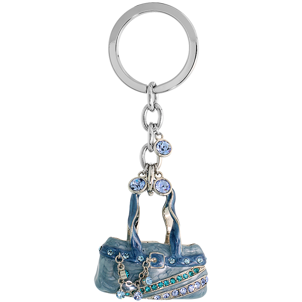Blue Purse Hand Bag Key Chain, Key Ring, Key Holder, Key Tag , Key Fob, w/ Brilliant Cut Blue Topaz-color & Aquamarine-color Swa