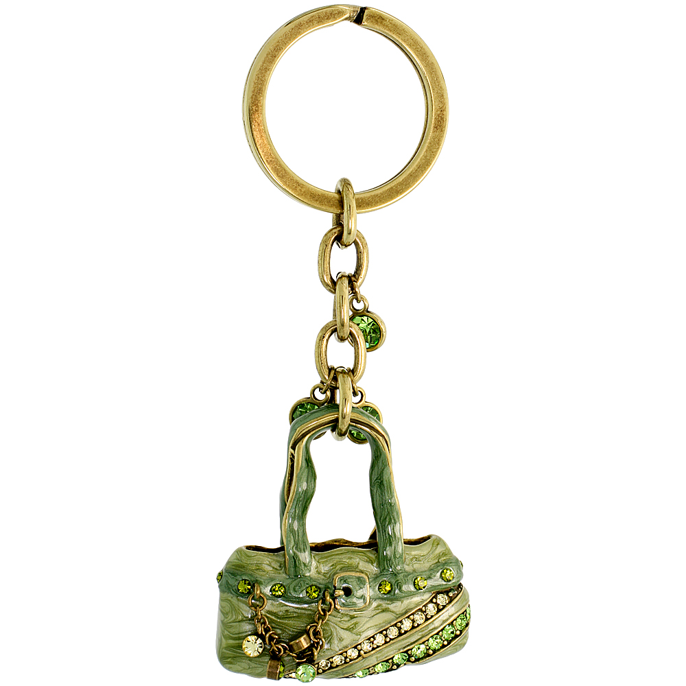 Green Purse Hand Bag Key Chain, Key Ring, Key Holder, Key Tag , Key Fob, w/ Brilliant Cut Peridot-color & Yellow Topaz-color Swa