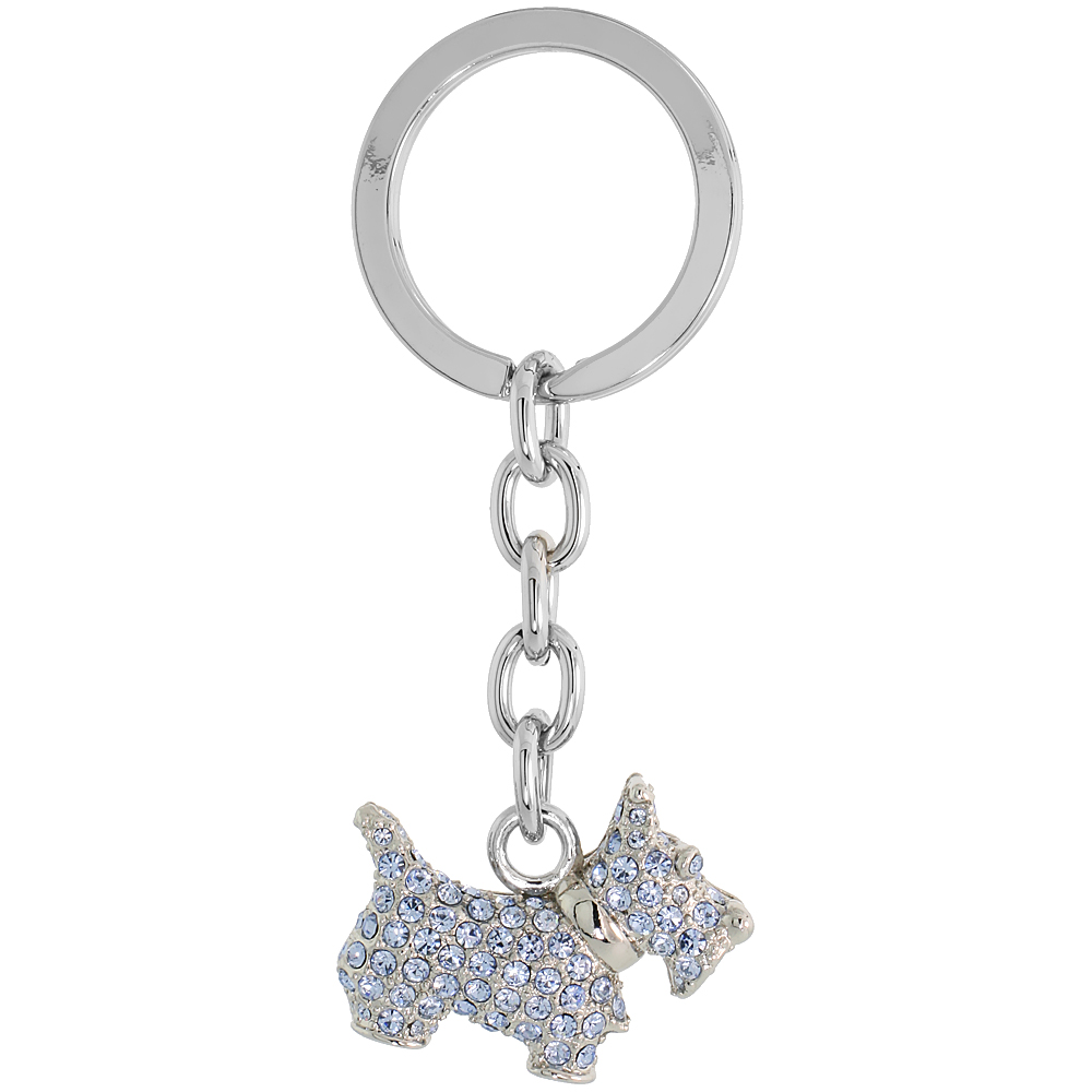 "Scottish Terrier Dog Puppy Key Chain, Key Ring, Key Holder, Key Tag , Key Fob, w/ Brilliant Cut Blue Topaz-color Swarovski Crystals, 3"" tall"