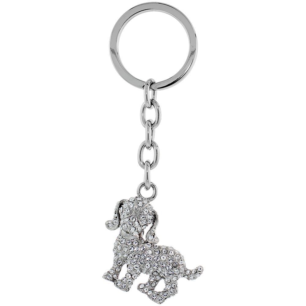"""Beagle Dog Key Chain, Key Ring, Key Holder, Key Tag , Key Fob, w/ Clear Swarovski Crystals, 4"""" tall"""