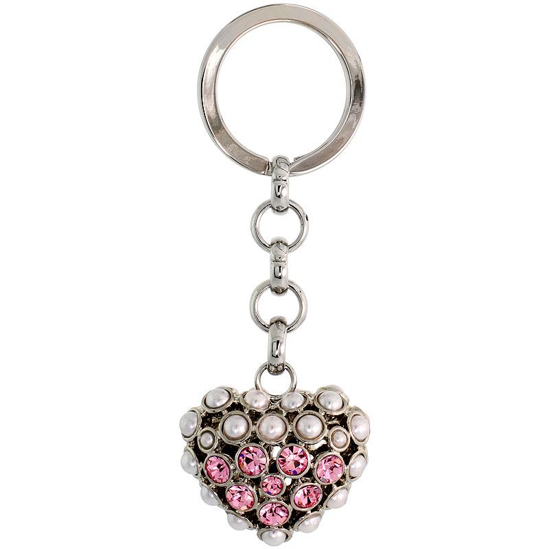 Puffed Heart Key Chain, Key Ring, Key Holder, Key Tag , Key Fob, w/ Beads & Brilliant Cut Pink Topaz-color Swarovski Crystals, 3