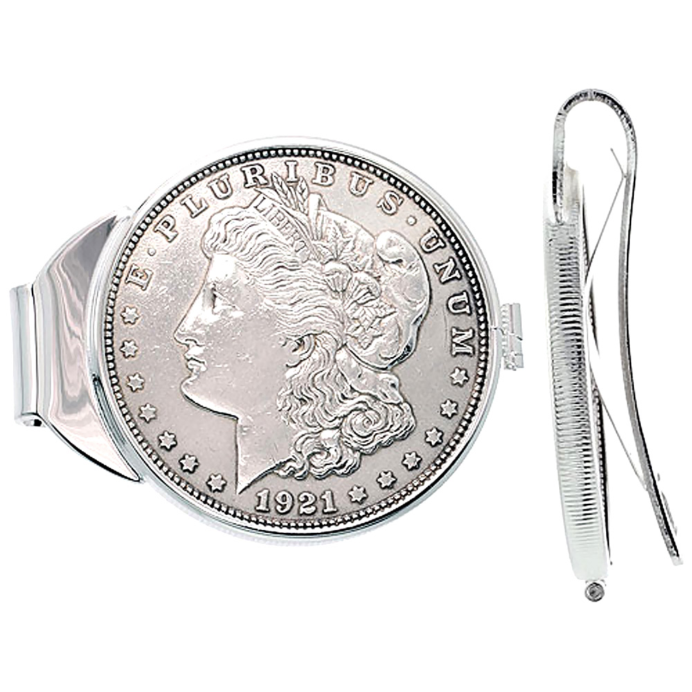 Sterling Silver Morgan Dollar Money Clip Spring Back with Coin