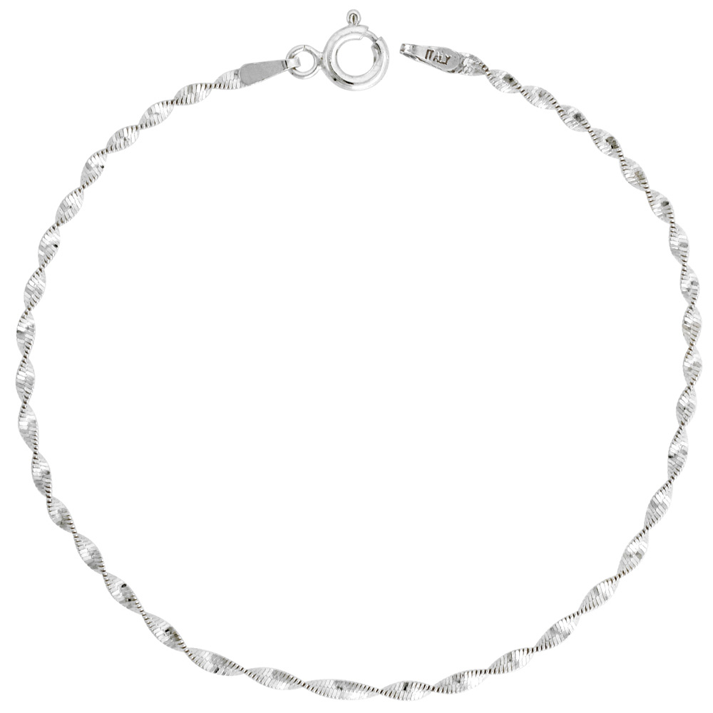 Sterling Silver Twisted Herringbone Chain Necklaces & Bracelets Nickel Free 2mm, sizes 16 - 20 inch lengths